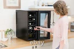 12 Bottle Drinks Cooler for Wine Beer Mini Fridge Drinks Chiller Led Display