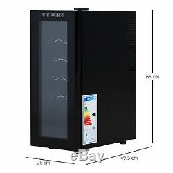 12 Bottle Wine Cooler Glass Door LED Drinks Fridge Tabletop Compact Refrigerator