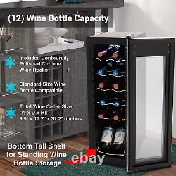 12 Bottle Wine Cooler Refrigerator Fridge Chiller Countertop Freestanding Compac