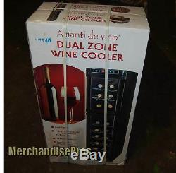 18 Bottle Amanti De Vino Dual Zone Wine Cooler Temperature Control & Led Lights