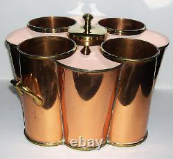 1920's Antique Four Bottle Twin Handle Copper & Brass Champagne / Wine Cooler