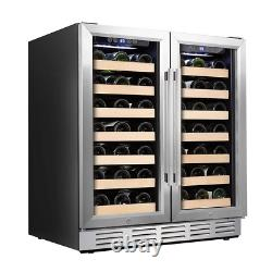 30 In. Wine Cooler 66 Bottle Dual Zone Built-In And Freestanding With Stainless