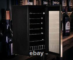 33 Bottles Wine Beer Fridge Beverage Drinks Cooler 95L LED Stainless Steel Bar