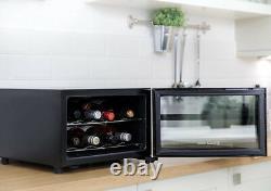 8 Bottle Drinks Wine Beer Cooler Display Door Mini Fridge Bar Chiller Black NEW