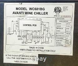 AVANTI WC681BG WINE COOLER 166 Bottles Capacity 100% WORKING GUARANTEE FREE SHIP