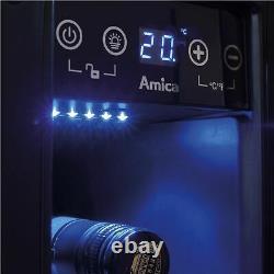 Amica AWC150BL 15cm Black Free Standing Under Counter LED 6 Bottle Wine Cooler