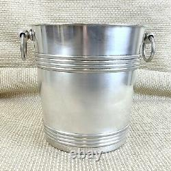 Art Deco Christofle Champagne Bucket Wine Cooler Bottle Collar Silver Plated
