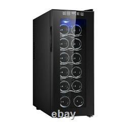 Black Glass Thermoelectric Wine Cooler 12 Bottle Undercounter Fridge Single Door
