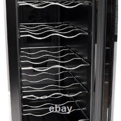 Black Wine Fridge Cooler 12 Bottles Capacity Digital Touch Screen with LED Light
