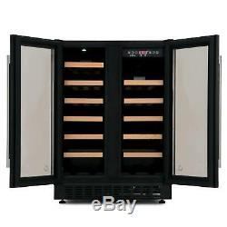 CDA FWC624BL 60cm Black Free Standing Under Counter LED 38 Bottle Wine Cooler