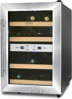 Caso Wine Cooler Duett 12 Bottles Freestanding, Stainless steel Black