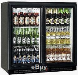 Commercial Sliding Double 2 Door Bottle Display Cooler Fridge Chiller Beer Wine