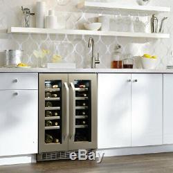 Danby DWC120KD1BSS, 40 Bottle French Door Freestanding, Dual Zone Wine Cooler