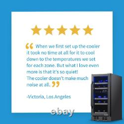 Dual Zone 15 In. 29-Bottle Built-In Wine Cooler Fridge With Quiet Operation Be
