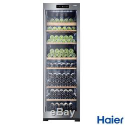 Dual-Zone LED Lighting WS151GDBI 151 Bottle Haier Wine Cooler with Anti-UV Door