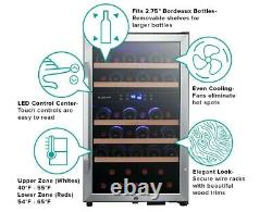 EdgeStar 20 Inch Wide 38 Bottle Capacity Free Standing Wine Cooler with Dual Zon