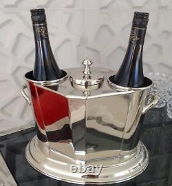 Eichholtz Eden Roc Wine Cooler Silver Nickel 2 Wine Bottle Holder (SRP £325)