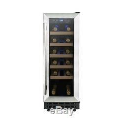 ElectriQ 30cm 19 Bottles Single Zone Wine Cooler Stainless Steel EQ30WINESS