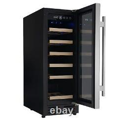 ElectriQ 30cm Wide 18 Bottle Wine Cooler Stainless Steel/Black