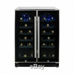 ElectriQ 36 Bottle Freestanding Under Counter Wine Cooler Dual Zone EQWINECH60DD