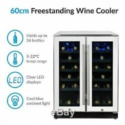 ElectriQ 36 Bottle Freestanding Under Counter Wine Cooler Full EQWINECH60DDWHITE