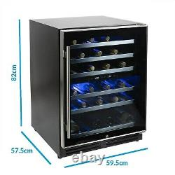 ElectriQ 51 Bottle Freestanding Under Counter Wine Cooler Full Dual Z EQWINECH60