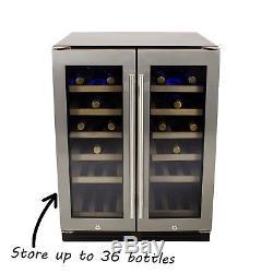 ElectriQ 60cm 36 Bottle Wine Cooler Dual Temperature Dual Zone Dou EQWINE60SDD