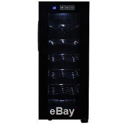 Elegant Wine Fridge Refrigerator Mini Cooler 12 Bottles Adjustable Temperature