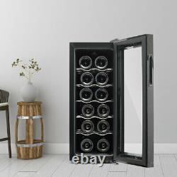 Free Stand Dual Zone Fridge Wine Cooler Holds 12 Bottle Wine Chiller Home & Bar