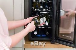 Free Standing Mini Wine Chiller Led Display 12 Bottles Bar Fridge Drinks Cooler