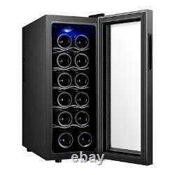 Freestanding 12 Bottle Wine Cooler Fridge Touch Screen LED Low Energy A Black