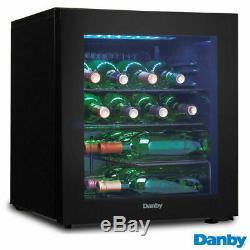 Freestanding Smart Storage LED Blue Interior A+ 16 Bottle Wine Cooler in Black