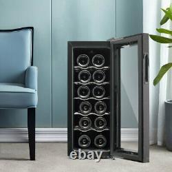 Freestanding Wine Cooler 12 Bottles Beer Drink Fridge Storage Cabinet LED Light