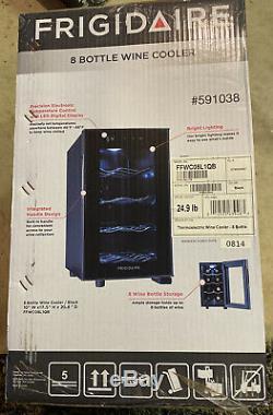 Frigidaire 8 Bottle Wine Cooler Black - New Temperature Control LED Display
