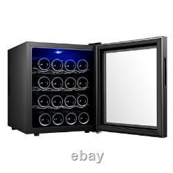 Glass 16 Bottle Wine Cooler LED Lights Undercounter Drink Bottles Cabinet Fridge