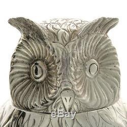 Impressive Novelty English Silver Plated Owl Wine Bottle Cooler