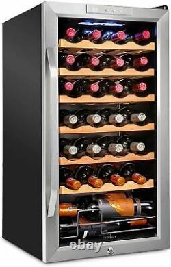 Ivation 28 Bottle Compressor Wine Cooler Refrigerator withLock Large Freestandin