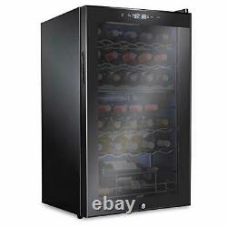 Ivation 33 Bottle Dual Zone Wine Cooler Refrigerator withLock Large Freestand