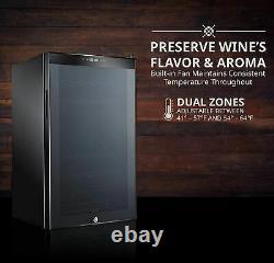 Ivation 33 Bottle Dual Zone Wine Cooler Refrigerator withLock Large Freestanding