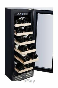 Kalamera 12'' Wine Cooler 18 Bottle Built-in or Freestanding Stainless Steel