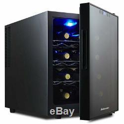 Kalamera Wine Cooler Fridge Refrigerator Mini Bar Drinks 12 Bottle Light LED