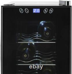 Klarstein Vinamora Wine Refrigerator Cooler 35L 12 Bottles LED Touch, Black