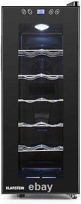 Klarstein Wine Refrigerator Freestanding 12 Bottles, Black 35L W26 x H65 x D50cm