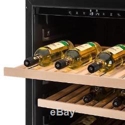 Klartsein Wine Cooler Fridge 166 Bottles Large Space 7 Shelves White Led Steel