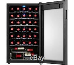 LOGIK LWC34B20 Wine Cooler 34 Bottles 93L 39dB 7 Shelves Black Currys