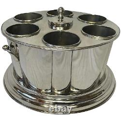 Large Art Deco Style Sheffield Silver Plate 6 Bottle Champagne Wine Ice Cooler