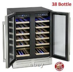 Large Wine Cooler Fridge 38 Bottle Holder DualZone Stainless Storage Cabinet UK