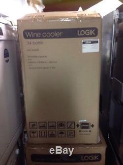 NEW LOGIK LWC34B15 Wine Cooler Black 34 bottles Black Under counter Fridge 48cm