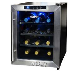 NewAir 12 Bottle Electric Wine Cooler Chiller Stainless Steel Black New Warranty