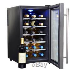NewAir 18 Bottle Electric Wine Cooler Chiller Stainless Steel Black Fridge Wty